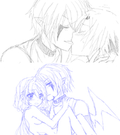 asher blanca couple daken dark human kiss lio naked nekomimi shonen-ai wings // 782x884 // 396.0KB